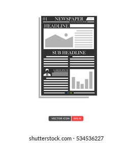 newspaper layout template icon vector illustration stock vector