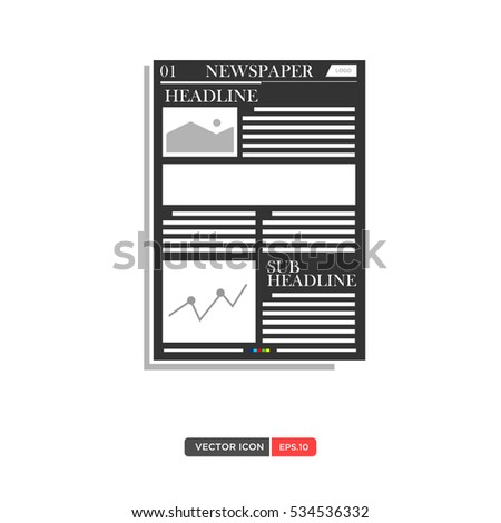 Newspaper Layout Template Icon Vector Illustration Stock Vector ...