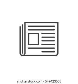 Newspaper line icon, outline vector sign, linear pictogram isolated on white. News symbol, logo illustration