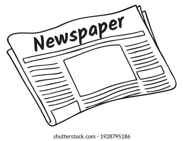 newspaper line vector illustration, isolated on white background.top view - Shutterstock ID 1928795186