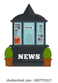 Newspaper or magazine booth shop vector flat design isolated icon