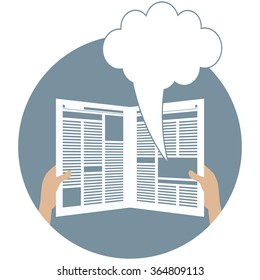 Newspaper overhead. Overhead view of human hand holding opened newspaper with advertisement copy space, article column, speech bubble. Business news gazette or paper media tabloid vector illustration