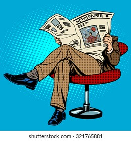 Newspaper reading man pop art retro style