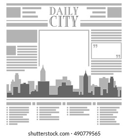 Newspaper with rows columns and cityscape silhouette EPS 8