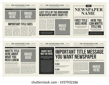 Newspaper square trifold brochure template with an old vintage look - Shutterstock ID 1937932186