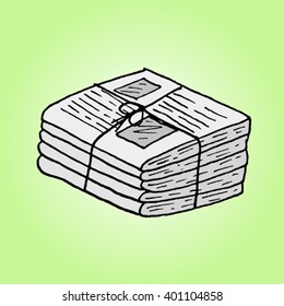 Newspaper stack. Hand drawn vector illustration