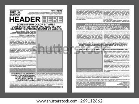 newspaper style flyer template stock vector royalty free 269112662