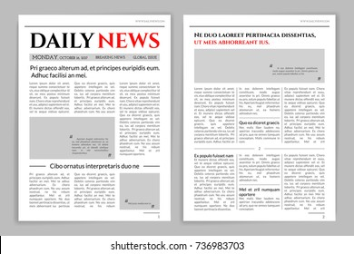 Newspaper template design. A mockup of a newspaper layout for a business promotional news, typographic print. Vector flat style cartoon illustration