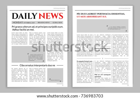 Newspaper Template Design Mockup Newspaper Layout Stock Vector ...