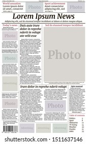 Newspaper template. Vector EPS10 layout of the first page. Title, columns, place for photography. Lorem Ipsum text for info fields. Template for business site, newsletters. Daily newspapers design.