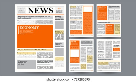 Newspaper Template Vector. Financial Articles News, Advertising Business Information. World News Economy Headlines Story. Design Blank Spaces For Images. Isolated Illustration