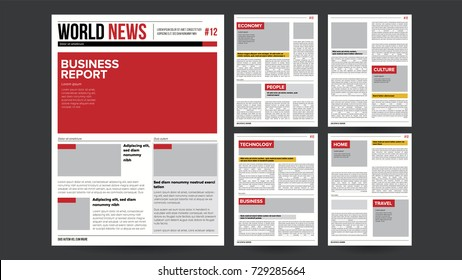 Newspaper Template Vector. Layout Financial Articles, Business Information. Opening Daily Newspaper Editable Headlines Text Articles. Realistic Banner Isolated Illustration
