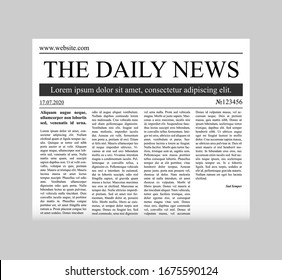 Newspaper template vector.  Vector mock up newspaper isolated on gray background.