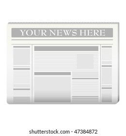 Newspaper template to your own news over white