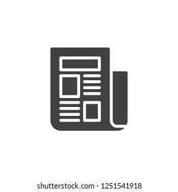 Newspaper text vector icon. filled flat sign for mobile concept and web design. Folded newspaper simple solid icon. News symbol, logo illustration. Pixel perfect vector graphics