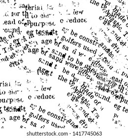 Newspaper type writer, abstract text, background, seamless pattern, black and white