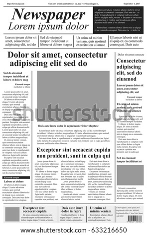 Newspaper Vector Template Lorem Ipsum Text Stock Vector Royalty