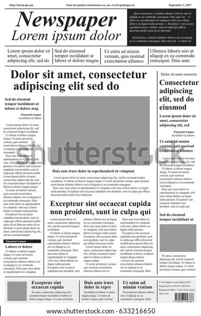 Newspaper Vector Template Lorem Ipsum Text Stock Vector