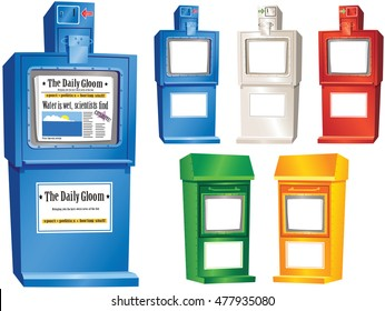 Newspaper vending stands.