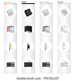 Newspaper, your advertising is here, stop transport, street lamp with banner, radio. Advertising set collection icons in cartoon black monochrome outline style vector symbol stock illustration web.