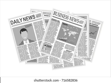 Newspapers. Flat design style.