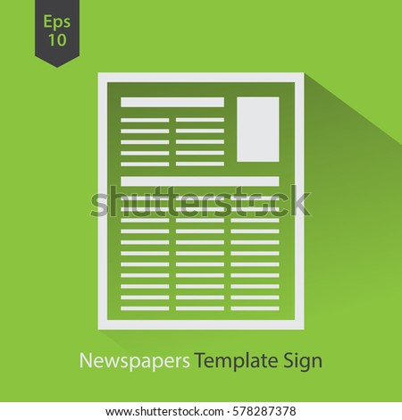newspapers template simple flat icon layout stock vector royalty