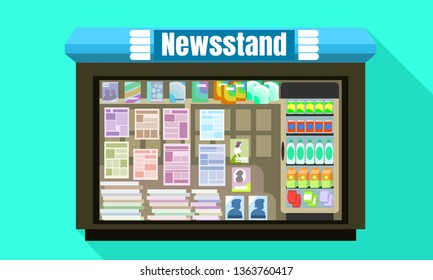 Newsstand glass window icon. Flat illustration of newsstand glass window vector icon for web design