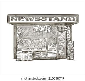 Newsstand. Hand drawn press kiosk. vector illustration.