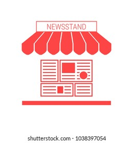 Newsstand, News Stall Single Flat Vector Icon. Striped Awning and Signboard. A Series of Shop Icons.