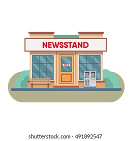 Newsstand selling newspapers and magazines.