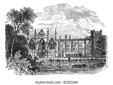 Newstead Abbey in Nottinghamshire, England, UK, vintage engraved illustration. Trousset encyclopedia (1886 - 1891).