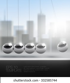 newton cradle or pendulum in front of downtown cityscape. high quality vector template