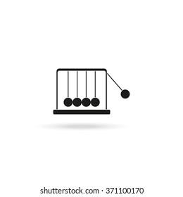 Newton's cradle flat vector icon isolated on white.