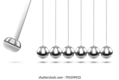 Newton's Cradle Pendulum on White Background. Business Concept. Balancing Chrome Balls. Vector Illustration.