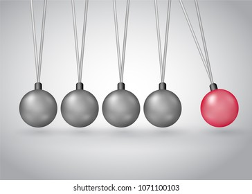 Newton's cradle physics experiment model vector illustration isolated on white. Metall balls hanging on frame with kinetic and potential energy converting, business collaboration model metaphor.