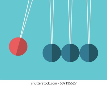 Newton's cradle. Red sphere hanging on threads hitting many blue ones. Leadership, power and uniqueness concept. Flat design. EPS 8 vector illustration, no transparency