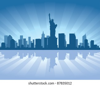 NewYork skyline with reflection in water