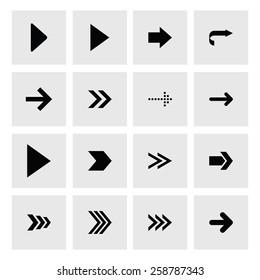Next arrow icon set. simple pictogram minimal, flat, solid, mono, monochrome, plain, contemporary style. Vector illustration web internet design elements