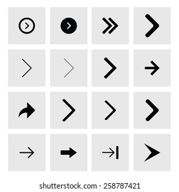 Next arrow icon set. simple pictogram minimal, flat, solid, mono, monochrome, plain, contemporary style. Vector illustration web internet design elements