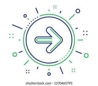 Next arrow line icon. Forward Arrowhead symbol. Navigation pointer sign. Quality design elements. Technology next button. Editable stroke. Vector
