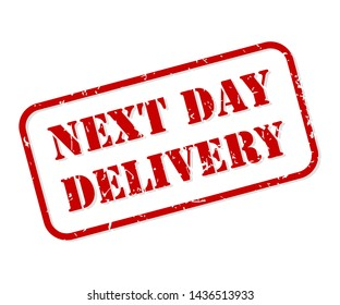 Next day delivery red rubber stamp vector isolated