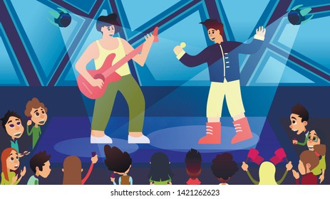 Next Generation Concert and Party Cartoon Vector.  Band Performs on Stage Accompanied by Flying Robots. Illustration Art Intellect Selects Object for Lighting. Electronic Android Devices.