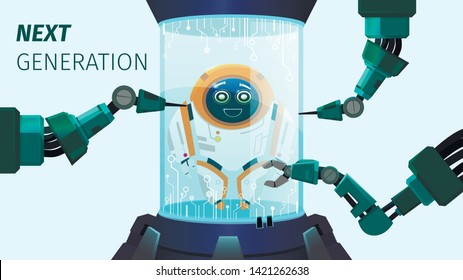 Next Generation Improvement, Inscription Cartoon. Progressive Science Future Creates an Artificial Intellect. Safe Vertical Reality. Automated Process Creating Robot with Cheerful Disposition.