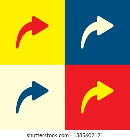 Next icon. Yellow, blue and red color material minimal icon or logo design