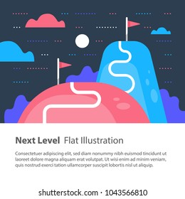Next level concept, upgrade, way to success, reach goal, higher and better, motivation and improvement, long term ambition, future aspiration, vector flat illustration