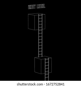 Next level with high giant box wall towards the sky with clouds and tall ladders. Pass challenge to reach the goal concept. Wireframe low poly mesh vector illustration.