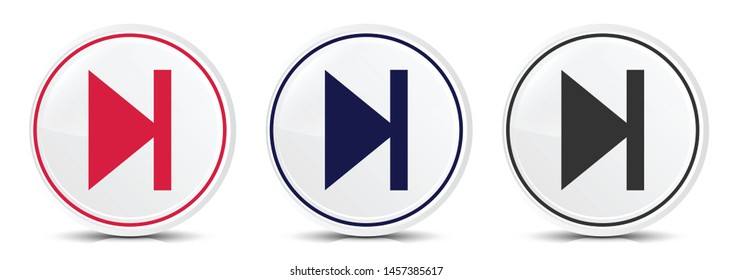 Next track icon crystal flat round button set illustration design isolated on white background