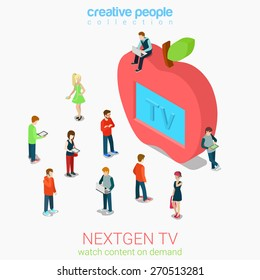 Nextgen online internet tv flat 3d web isometric infographic vector. Next generation television. Micro people crowd before huge apple shaped tv set screen. Creative people collection.