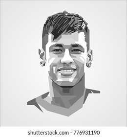 Neymar Jr template vector Brazilian professional footballer  French club Paris Saint-Germain and the Brazil national team