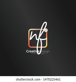 NF initial handwriting with color logo icon template vector.